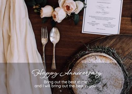 anniversary card 136 fork cutlery