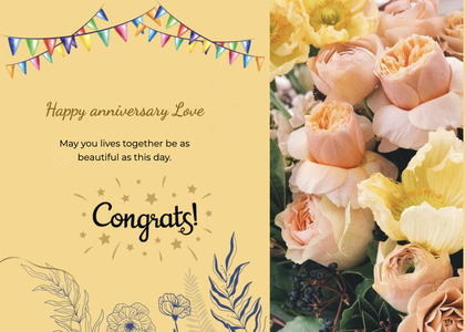 anniversary card 24 plant petal