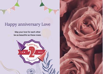 anniversary card 26 rose plant