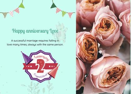 anniversary card 27 rose plant