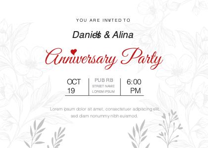anniversary card 5 text floraldesign