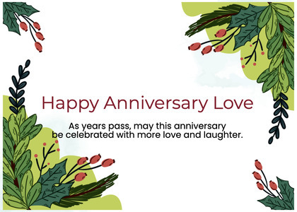 anniversary card 53 plant leaf