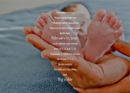 babybirth card 12 heel person