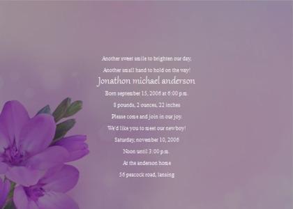babybirth card 8 plant flower