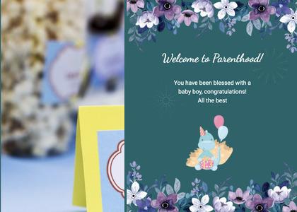 babyshower card 100 envelope mail