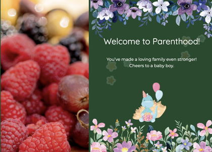 babyshower card 102 plant raspberry