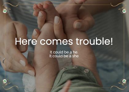 babyshower card 122 heel hand