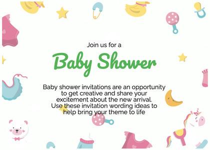 babyshower card 178 text paper