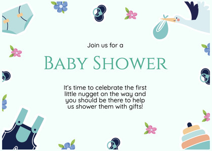 babyshower card 180 text paper
