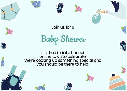 babyshower card 181 text paper