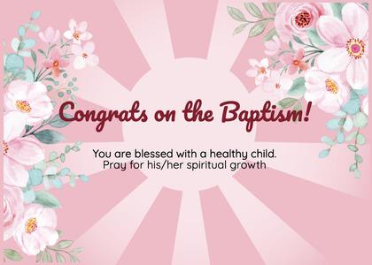 baptism card 121 flower plant