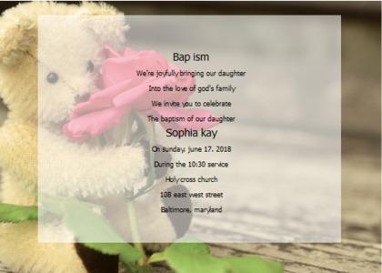 baptism card 13 text plush