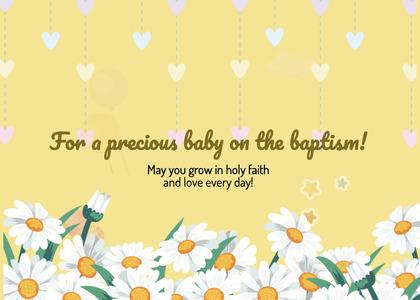 baptism card 24 daisy flower