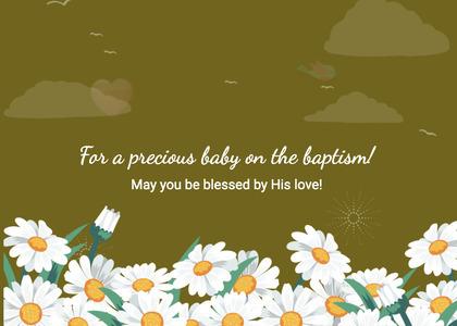 baptism card 241 daisy daisies