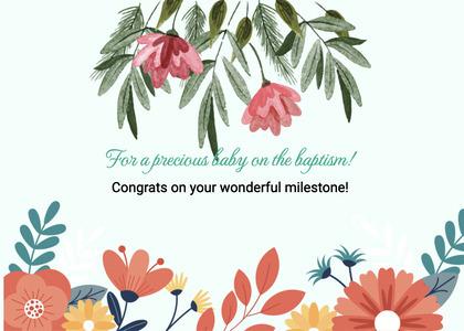 baptism card 50 floraldesign graphics