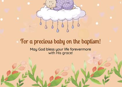 baptism card 56 cream food