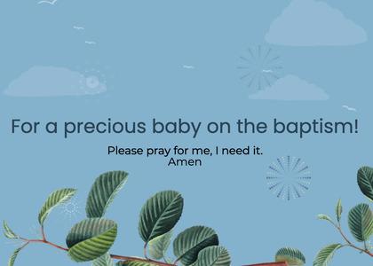 baptism card 60 leaf plant