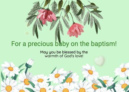 baptism card 80 plant flower