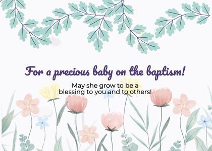 baptism card 87 plant vase
