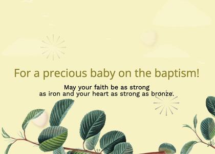 baptism card 90 leaf plant
