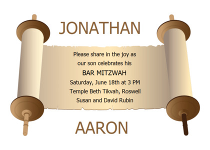 barmitzvah card 12 scroll flyer