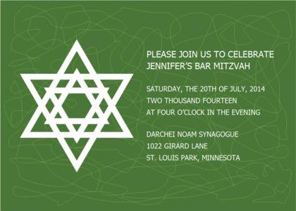 barmitzvah card 14 symbol starsymbol