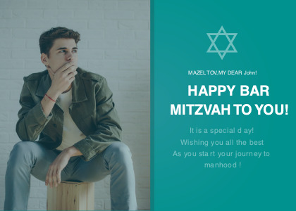 barmitzvah card 5 clothing person