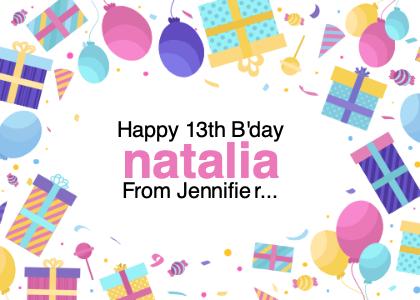 birthday card 5 paper confetti