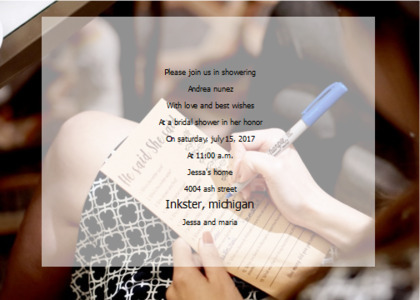 bridalsshower card 15 text poster