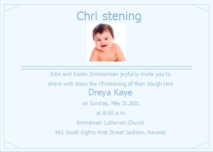 christening card 8 person advertisement