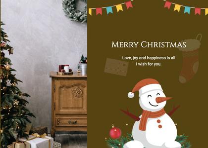 christmas card 28 snowman outdoors