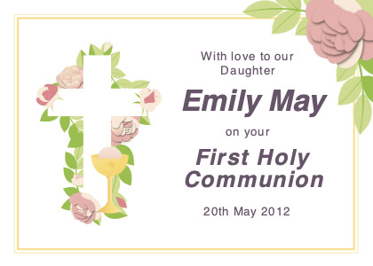 communion card 5 text paper