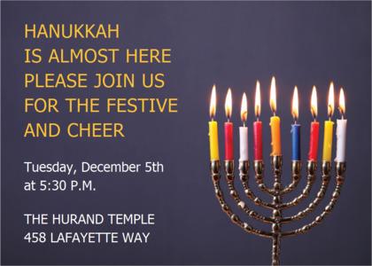 hanukkah card 13 candle fire