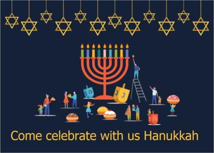 hanukkah card 8 person people