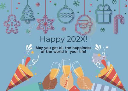 newyear card 178 glass text