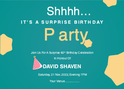 surpriseparty card 1 advertisement poster