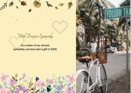 sympathy card 67 bicycle bike