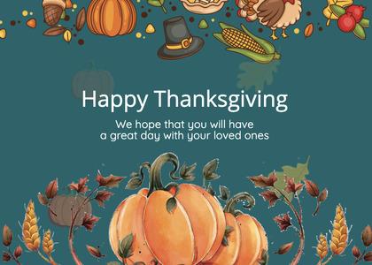 thanksgiving card 232 plant pumpkin