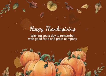 thanksgiving card 241 pumpkin plant
