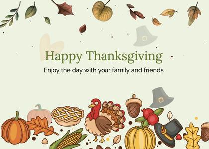thanksgiving card 253 plant bird