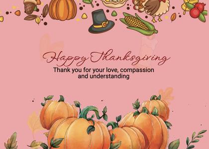 thanksgiving card 277 pumpkin plant