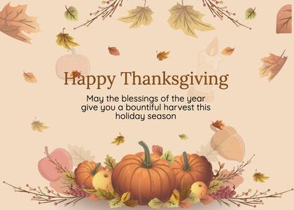 thanksgiving card 279 plant pumpkin