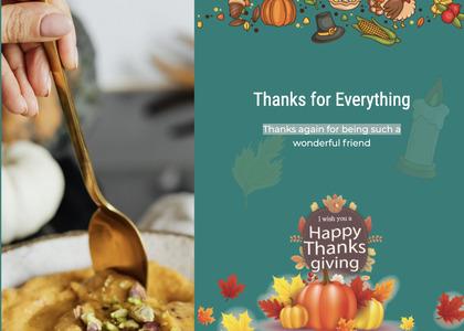 thanksgiving card 36 spoon cutlery