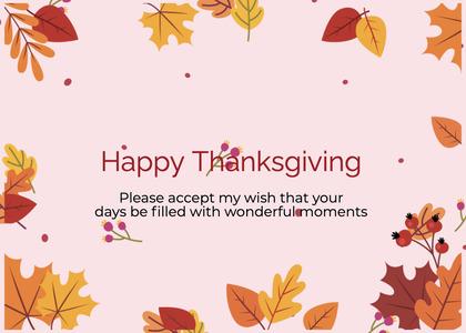 thanksgiving card 84 leaf plant