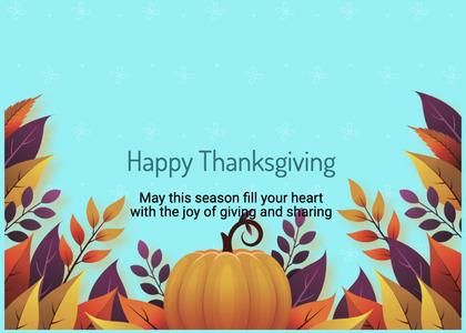 thanksgiving card 96 pumpkin plant