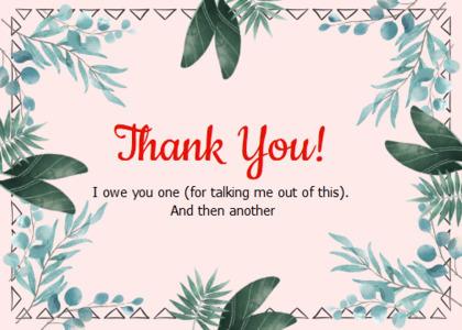 thankyou card 25 vegetation plant