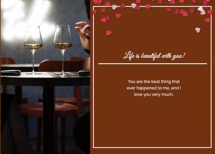 valentine card 121 glass wine