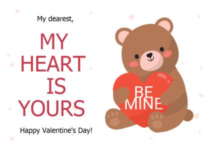valentine card 13 text toy