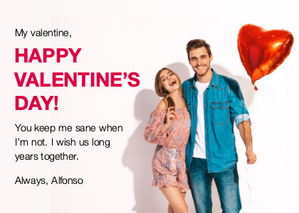 valentine card 3 person clothing