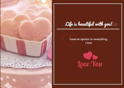 valentine card 349 cream creme